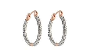 Genuine White Diamond 3 row Hoop Earring