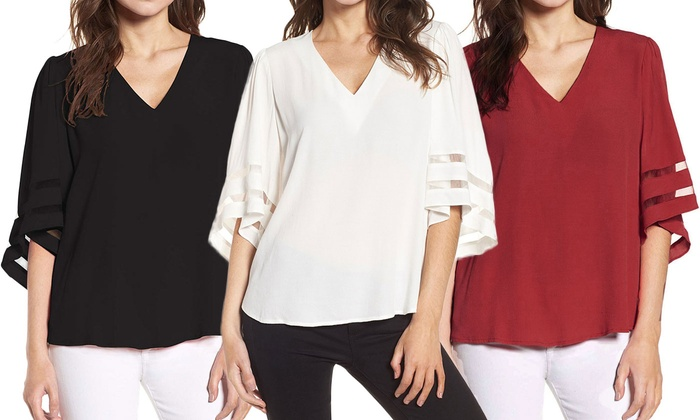 83640fea3 Up To 65% Off on Women's Plus V Neck 3/4 Bell ... | Groupon Goods