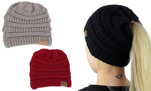 Women Pony Tail Winter Wool Knit l Beanie Skull Slouchy Caps