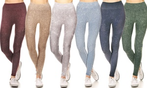 Style Clad Women's Compression Moto Leggings with Vintage Wash