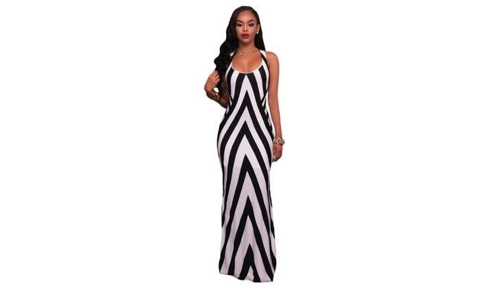 Hellochic: Women's Black White Stripes Cutout Back Sleeveless Maxi Dress