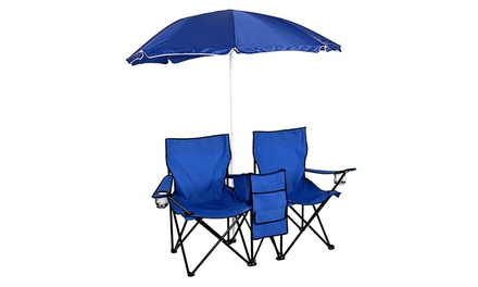 3-Piece Patio Set Picnic Beach Umbrella Folding Chair set w/ Table Cooler