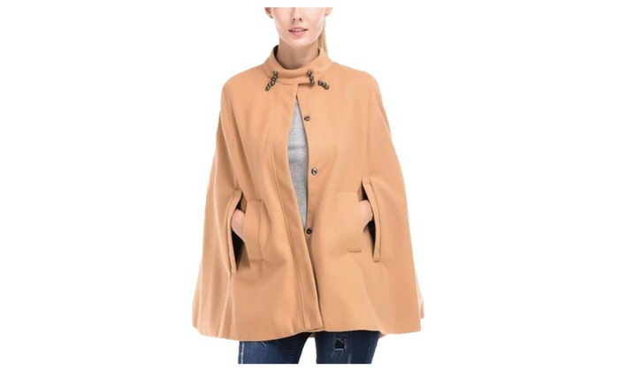 Women's Loose Fit Windproof Solid Casual Simple Wool Coat