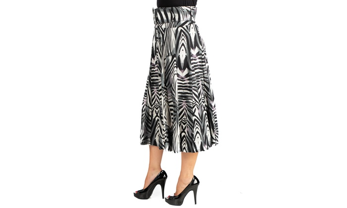 8855f6b945 24seven Comfort Apparel Womens Zebra Print Belted Midi Skirt | Groupon