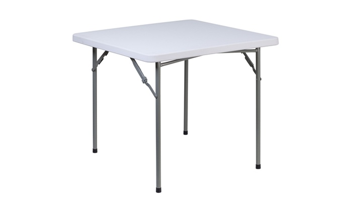 34 Square Granite White Plastic Folding Table