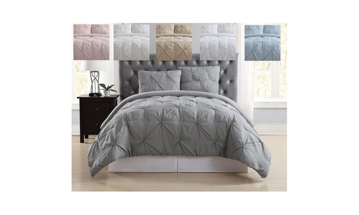 set home garden size detail silver pinch sabrina chic pleat piece bedding sets comforter pleated king
