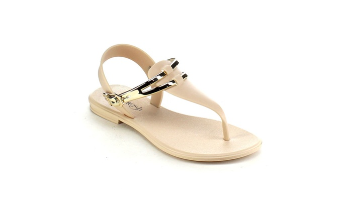 Beston AB41 Women's T-Strap Jelly Thong Buckle Flat Heel Sandals