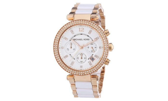 d5bf4f21663f Michael Kors Parker Chronograph White Dial Rose Gold-tone Ladies ...