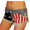 Hot Women Sexy American US Flag Burr Cut Off Jean Denim Shorts Pants