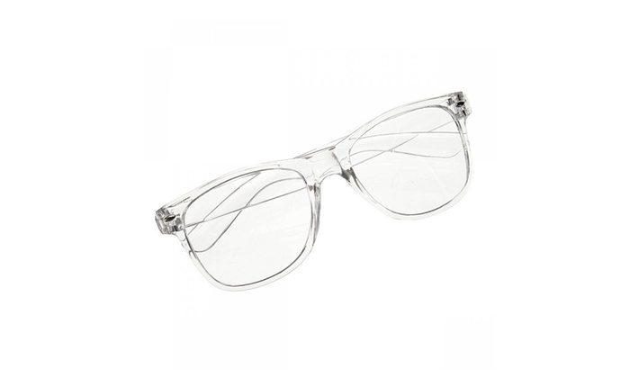 Unisex Transparent Frame Retro Plain Lens Glasses