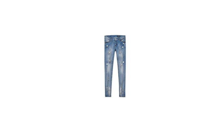 Women's Mid Rise Long Solid Fashion Casual Jeans