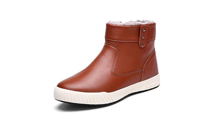 Yiruiya Men's Waterproof High Top Shoes Fur Snow Boots