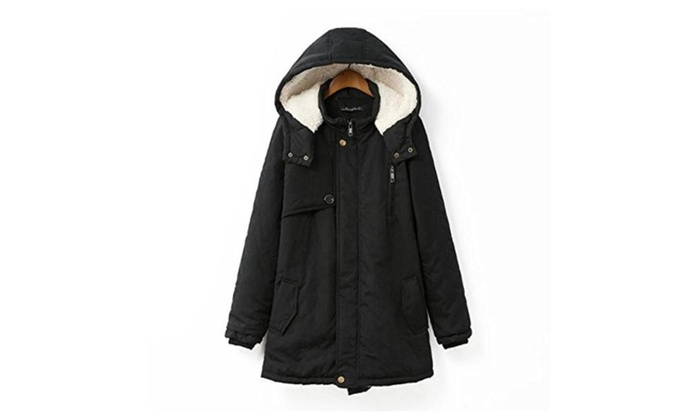 Women's Winter Warm Fleece Jacket Hooded Parka Coat Top - Black / 4X Plus