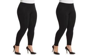 (2-Pack) Women's Warm Fleece Lined Plus Size Leggings