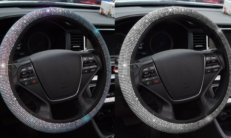 Bling Bling Rhinestone Car Steering Wheel Cover Car Accessories Gift Fit 15