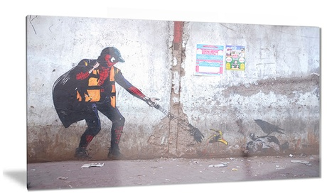Spiderman in Dharavi Slum Street Art Metal Wall Art 28x12 dddcbca6-c3b3-419d-9749-b39854ce6a5e