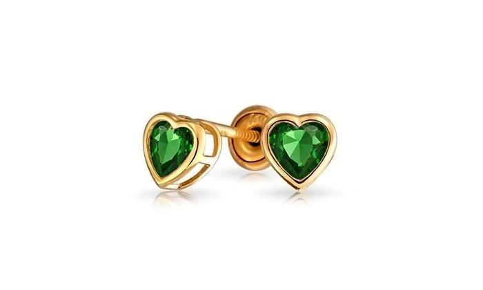 6bb3f5069 Heart Shaped 14K Gold Screwback Stud Earrings for Baby Girl Kids  Alexandrite CZ