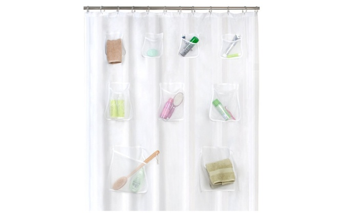 Heavy PEVA Non Toxic Shower Curtain Liner With 9 Pockets Frosty Clear