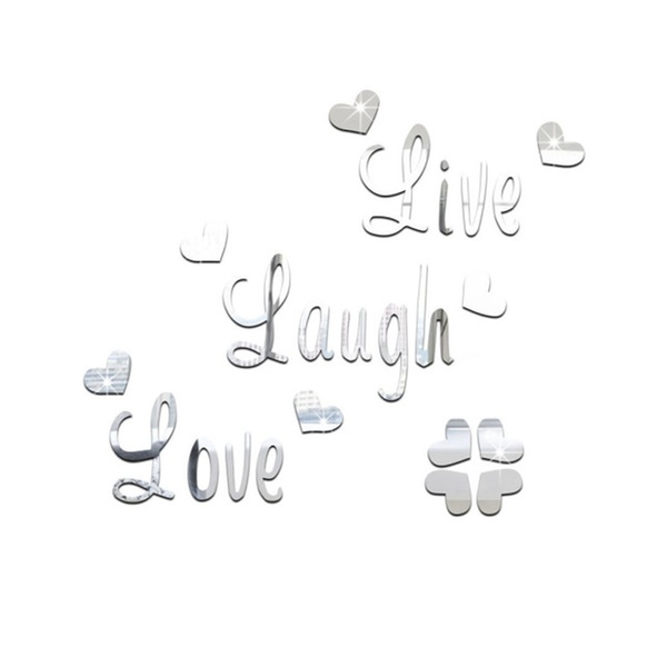 Mirror Decals Crown Heart Stars Live Love Laugh Wall
