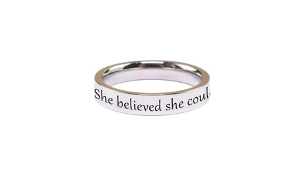 Pink Box Solid Stainless Steel Comfort Fit Inspirational Ring Was: $25 Now: $6.99.