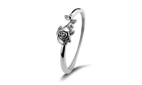 Fashion Women 925 Sterling Silver 3D Rose Flower Leaf Engagement Wedding Ring