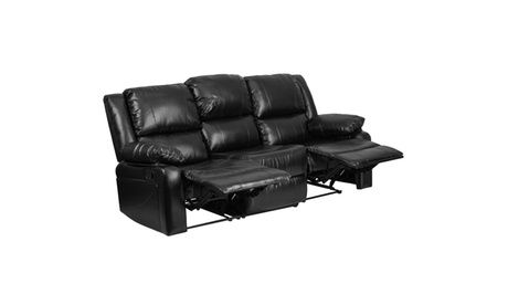 Harmony Series Black Leather Sofa with Two Built-In Recliners 3ab1d754-36c2-4220-ad13-ded4a4ac2ba0