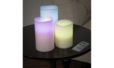 Lavish Home Flameless LED Candle Set with Remote (3-Piece)