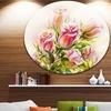 Rose Oil Painting' Floral Circle Metal Wall Art