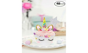 Unicorn Cupcake Toppers and Double-Sided Wrappers Set (48-Piece)