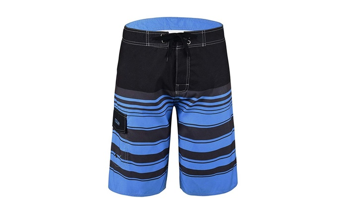 96e9dea902 Men's Quick Dry Swim Trunks Colorful Stripe Beach Shorts with Mesh Lining