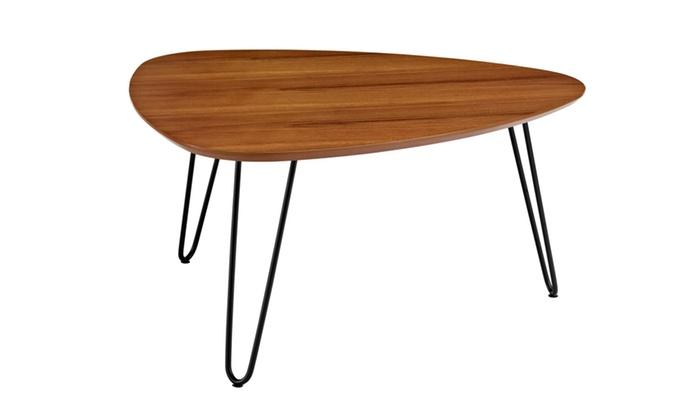 WE Furniture Hairpin Leg Wood Coffee Table Walnut Groupon - Coffee table no legs