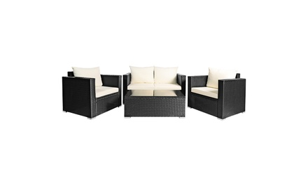 8PCS Patio Rattan Furniture Set Cushioned Sofa Chair Coffee Table Off White