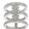 Stainless Steel Crystal Triple-Strand Ring