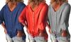 Womens Plus-Size Tunic Tops Loose 3/4 Sleeve Back Buttons V-Neck T-Shirt