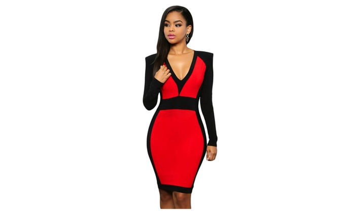 Women's Red Black Color Block Long Sleeve Midi Dress