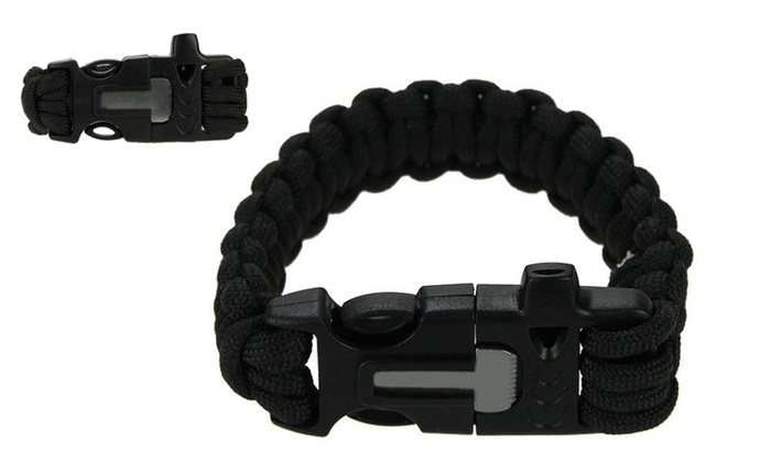 Survival Outdoor Cord Bracelet Flint Fire Starter Scraper Whistle