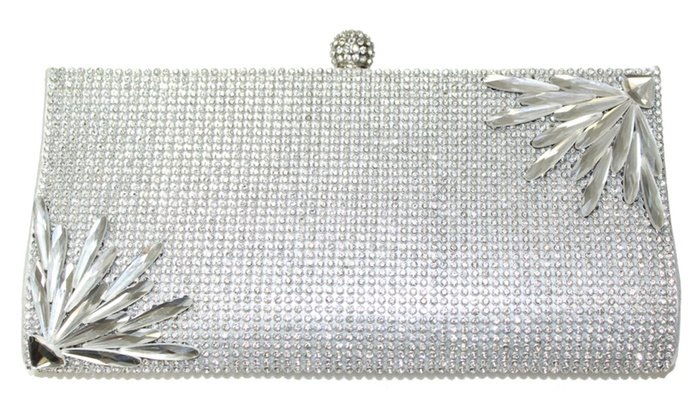 Womens Crystal Covered Silver Clutch Bag