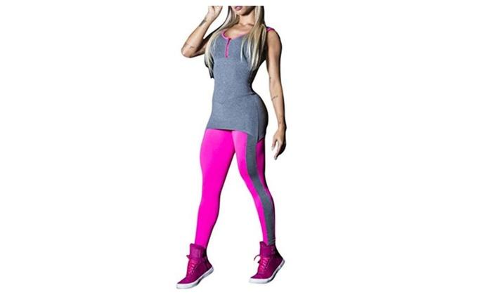 Deep V Sports Piece Pants Hit Color Dance Pants Yoga Pants Female