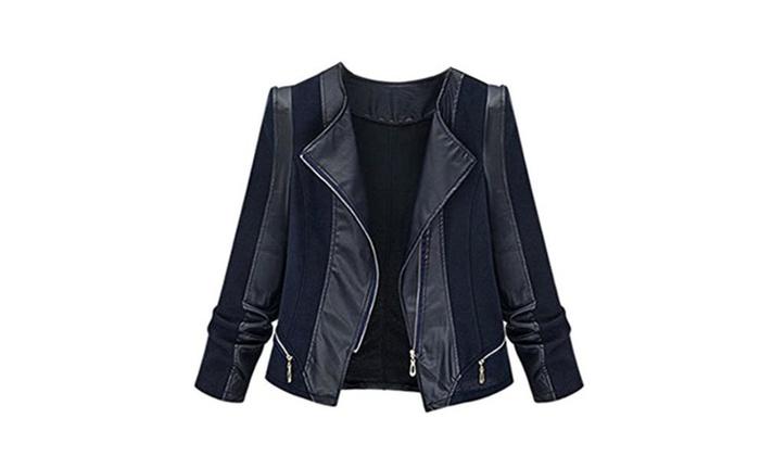 Women Faux Leather Zipper Biker Moto Jackets Slim Short Coat