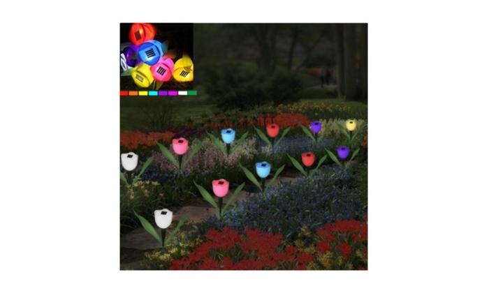 Home Improvement Landscape Lamp Lights Solar Tulip Flower Garden Path