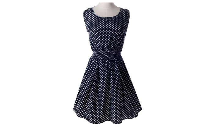 Black Polka Dot Elastic Waist Midi Dress