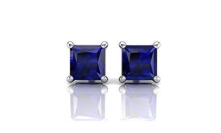 14k Genuine White Gold Princess Blue Sapphire 4 Carat Stud Earrings vs1 Was: $199 Now: $22.49.