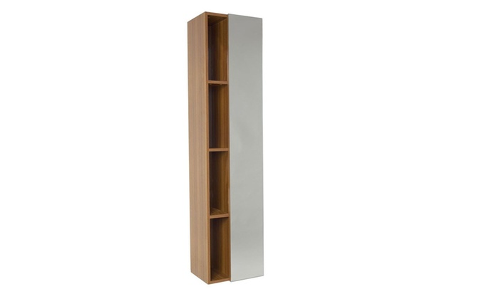 Teak Bathroom Linen Side Cabinet With 4 Cubby Holes And Mirror ...