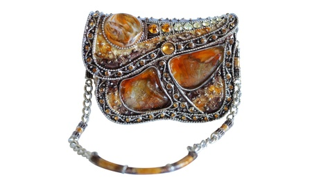 Murano-Style Glass and Metal Purse Keepsake Box (Goods Jewelry & Watches Boxes & Holders) photo