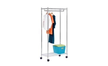 Portable Chrome Rolling Clothes Drying Rack Closet Storage Organizer c37b4100-a523-405c-814d-a2905ecc7849