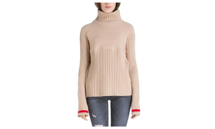 Women's Casual Regular Fit Pullovers Sweater - Beige / One Size