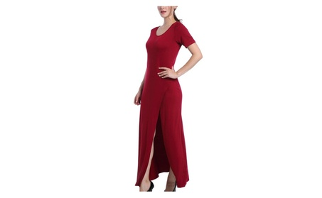 Women's Round Neck Side Split Split Slim Fit Maxi Long Dress 39bd682e-8c42-4394-bb78-86feb1e084b7
