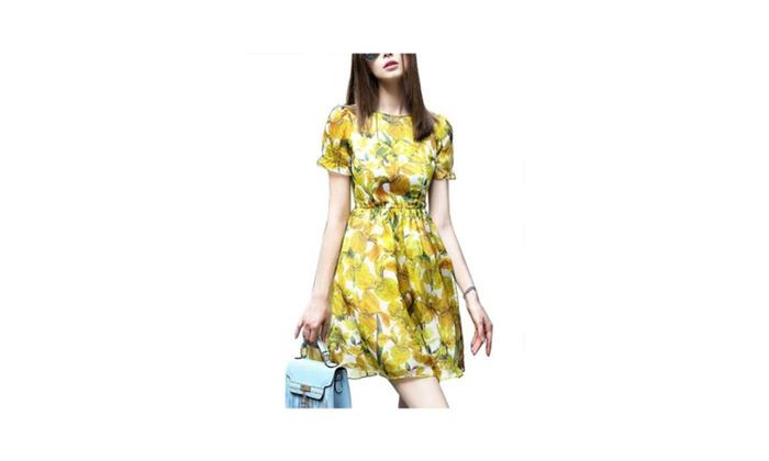 Women's Printed Slim Fit Blouson BackZipper Dresses