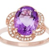 10k Rose Gold Oval Amethyst and Flower Halo Diamond Ring