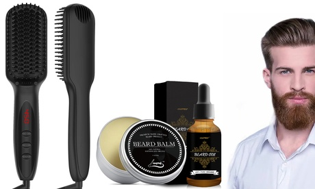 Electric Heated Beard Straightener Hair Brush w/ Beard Oil, Beard Balm for Men